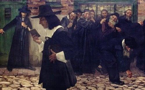 Pintura antiga com homem lendo livro