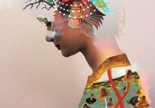 Silhueta de mulher com vários elementos
