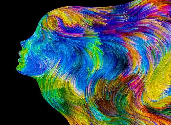 Perfil de mulher em várias cores