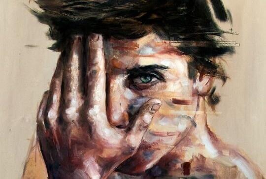 Pintura de homem cobrindo parte do rosto