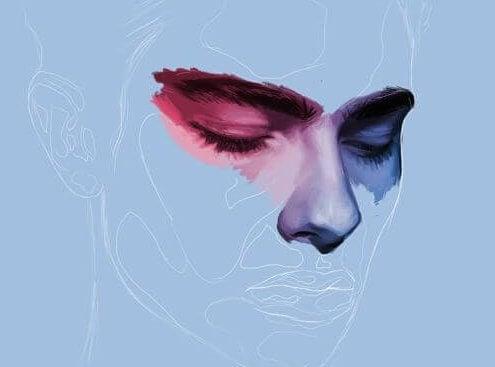 Desenho de homem com olhos e nariz pintados