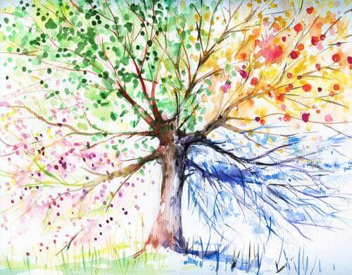 Desenho de uma árvore com várias cores