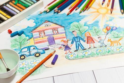 Desenho de família em sua casa