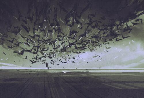 Homem fugindo de pássaros