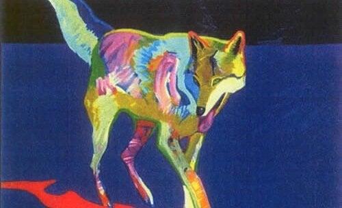 Ilustração de lobo colorido