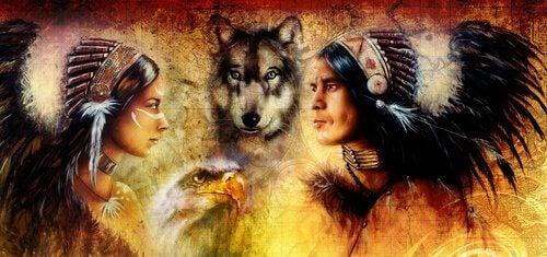 Índios com lobo