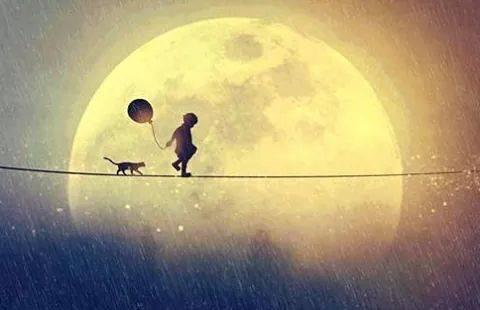 Criança e gato andando em corda bamba