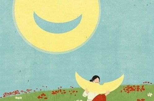 Mulher comendo a lua