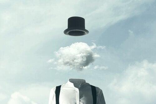 Homem com uma nuvem no lugar da cabeça
