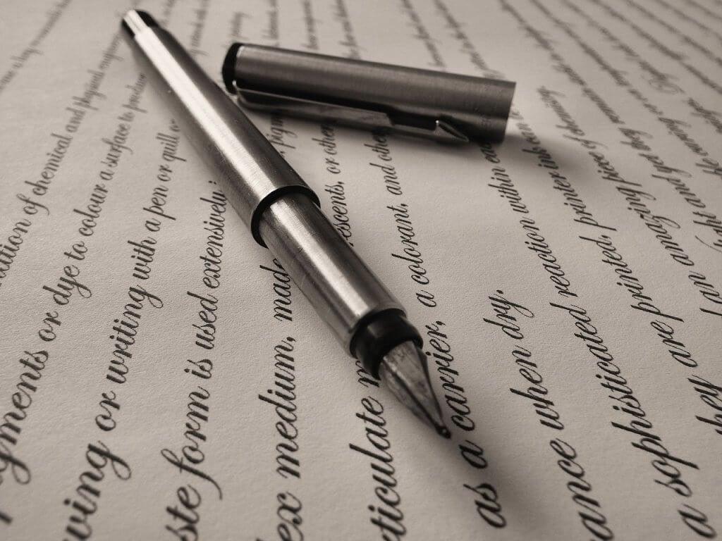 Frases escritas com caneta