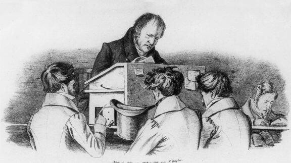 Hegel dando aula para alunos