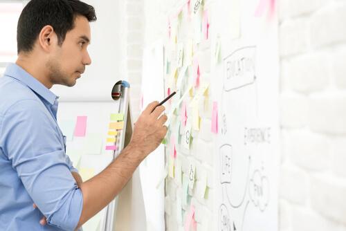 Homem planejando projeto no trabalho