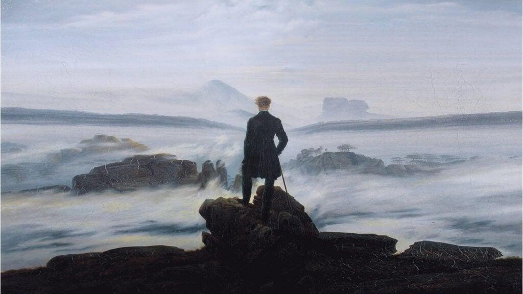 Quadro de homem olhando sobre as nuvens