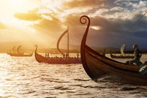 Barcos vikings no mar