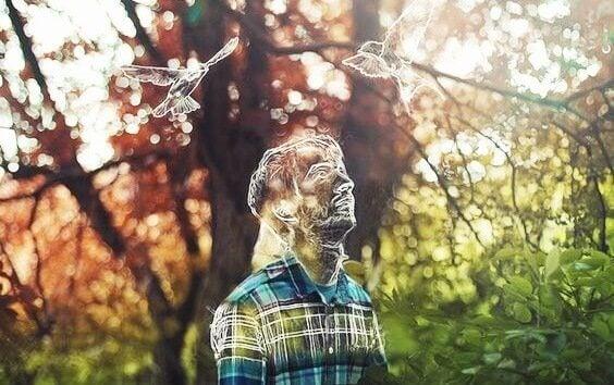 Desenho de homem em floresta