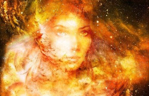 Ilustração de mulher no espaço