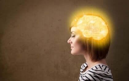 Cérebro iluminado representando pensamento