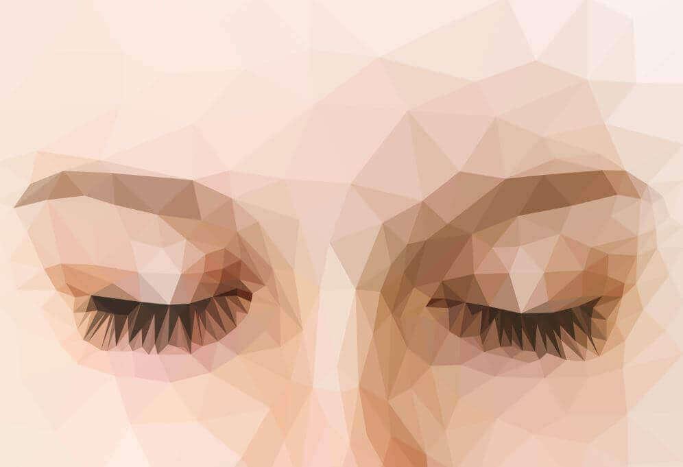 Olhos femininos fechados