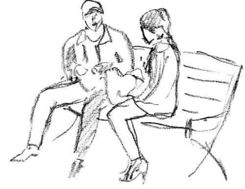 Desenho de casal em um banco