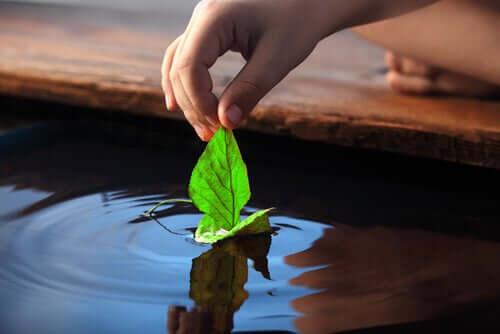 Brincando com folha na água