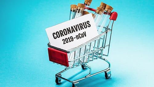 Carrinho de compras motivado pelo coronavírus