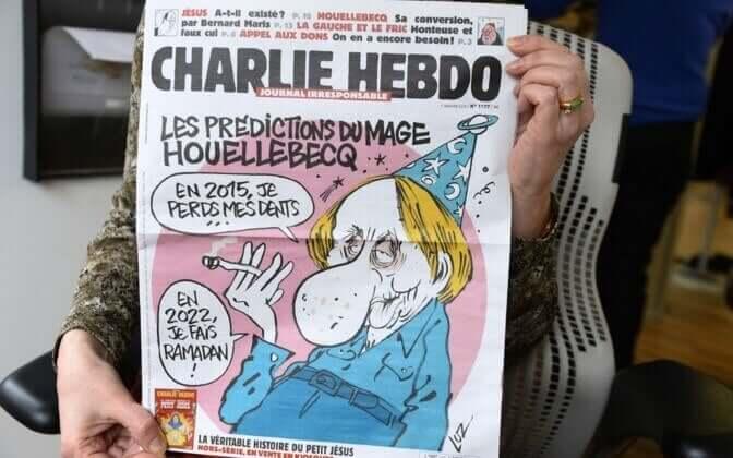 Capa do Charlie Hebdo com Michel Houellebecq