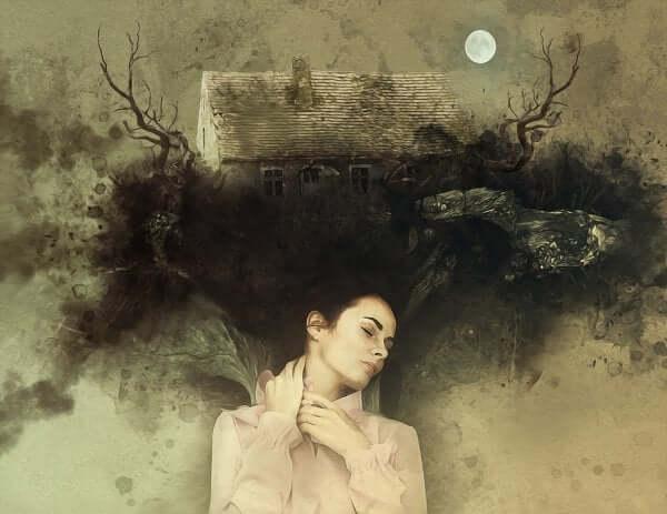 Mulher tendo pesadelos
