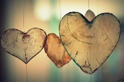 Três corações de materiais naturais