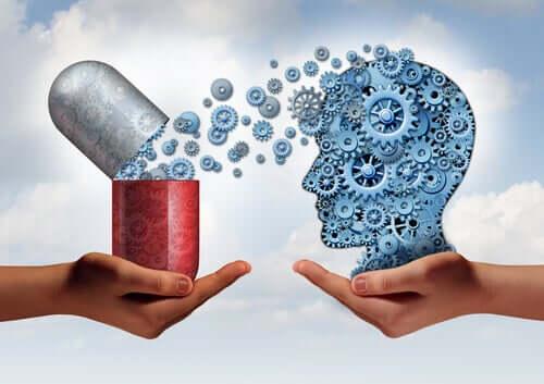 Remédio liberando substâncias no cérebro