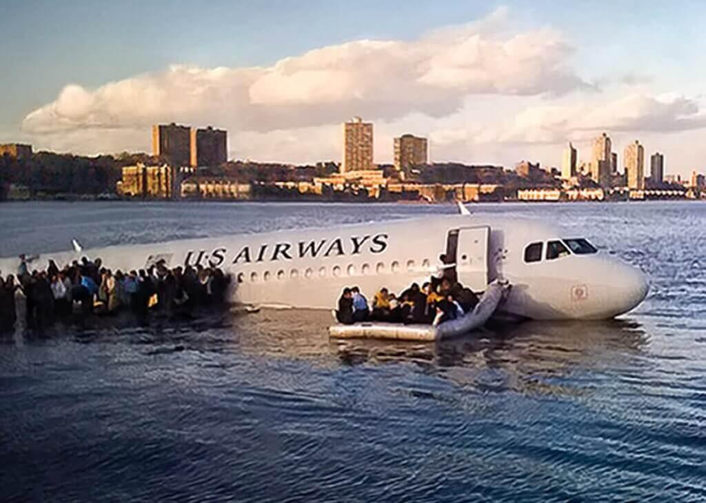 O avião do milagre no rio hudson