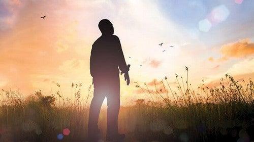 Homem em campo no pôr do sol