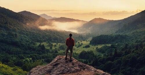 Homem contemplando paisagem