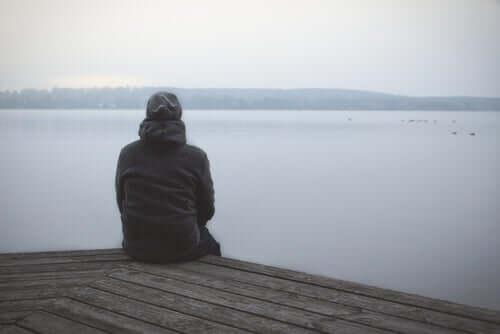 Homem observando paisagem em lago