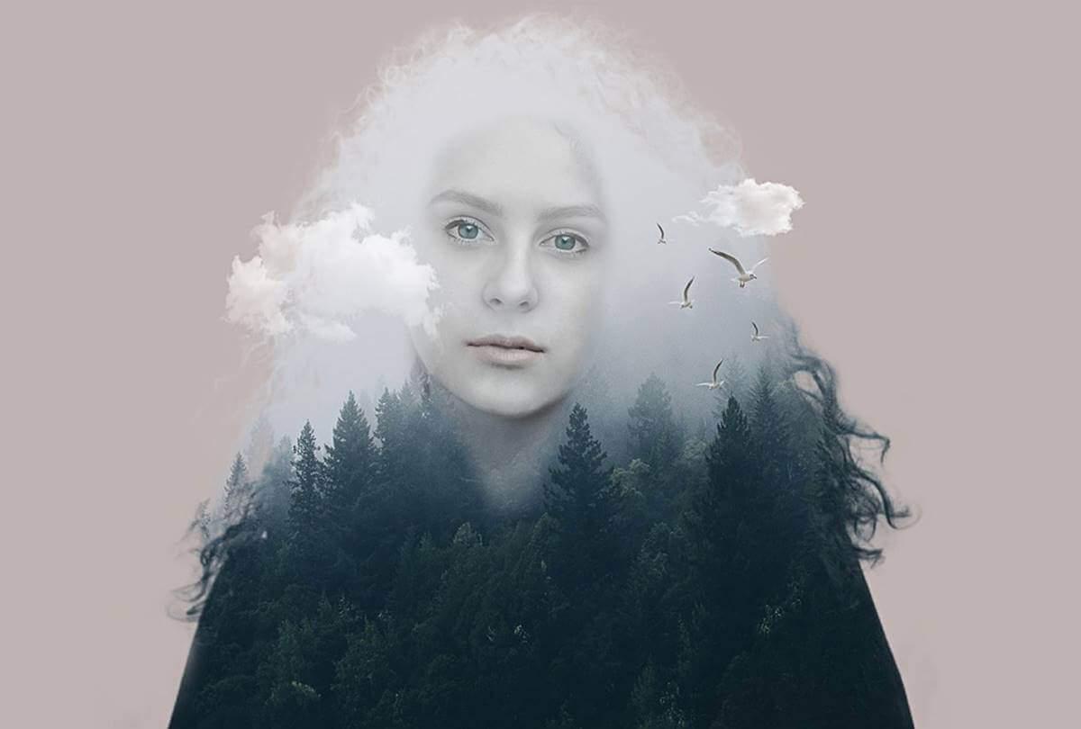 Bosque representado em mulher