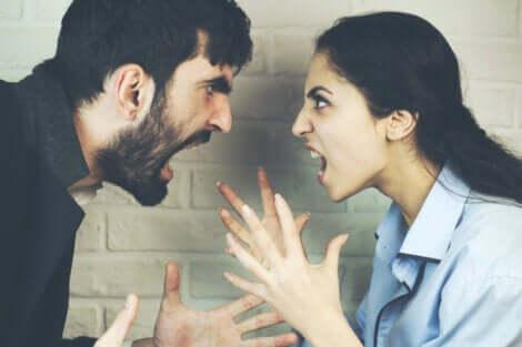 Casal gritando