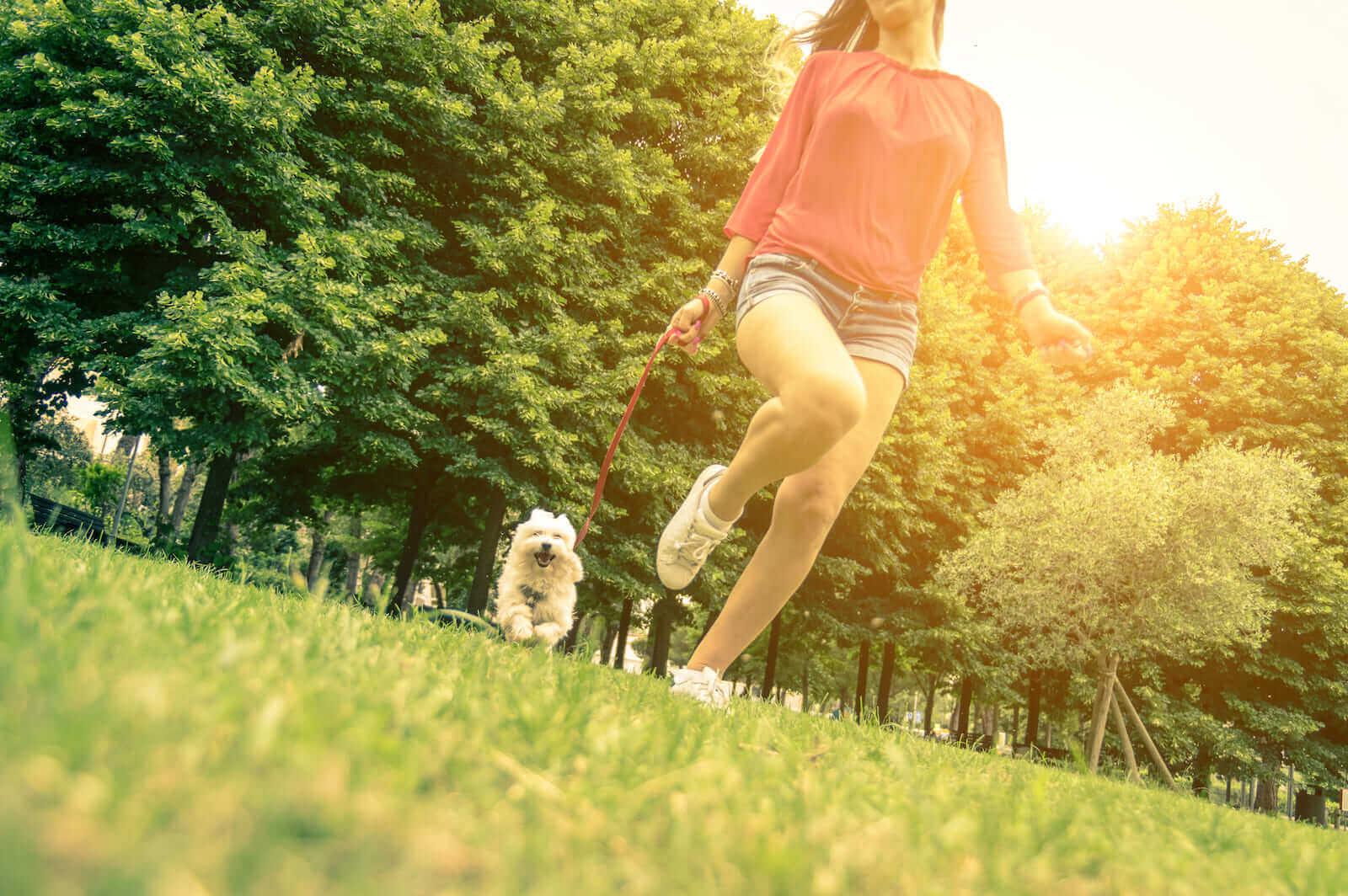 Jovem correndo com cachorro