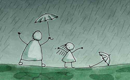 Desenho de pessoas na chuva