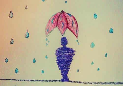 Teste da pessoa na chuva