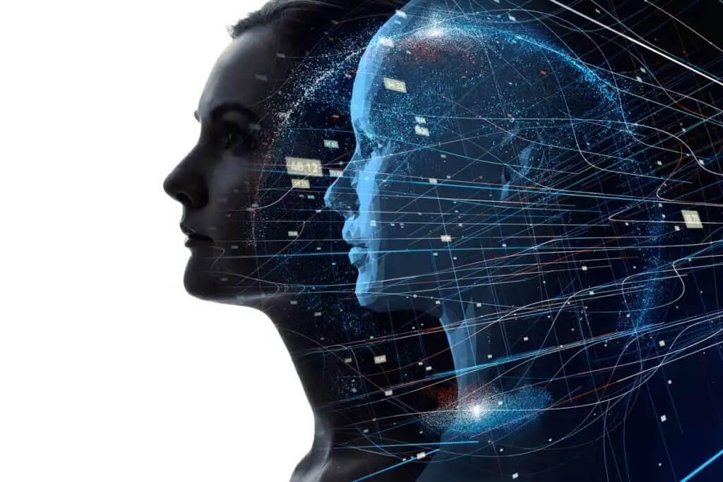 Robô e humano